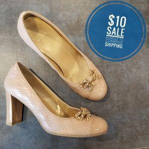 Stuart Weitzman quilted bow heels